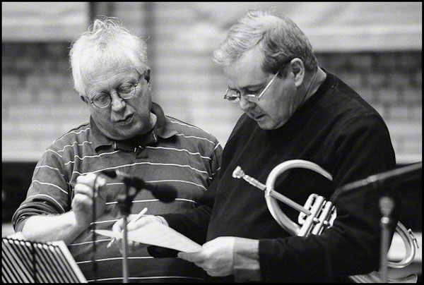 Henry Lowther, left, with fellow trumpeter Kenny Wheeler. This beautiful 2003 study in discussion and concentration is from the archive of the late Russ Escritt, and posted in dedication to  his memory.