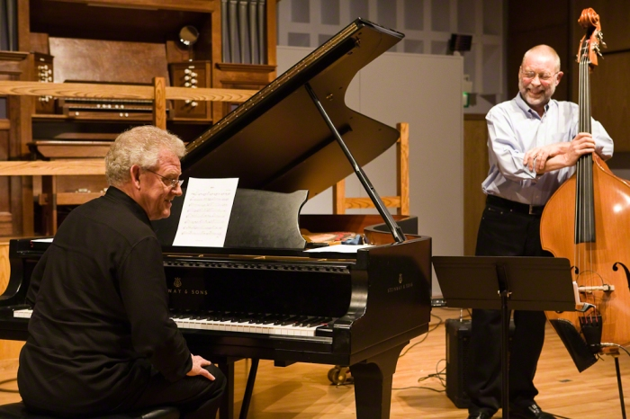 John Taylor with Dave Holland in Birmingham Conservatoire's recital hall in 2011 (This picture was taken by the late Russ Escritt)