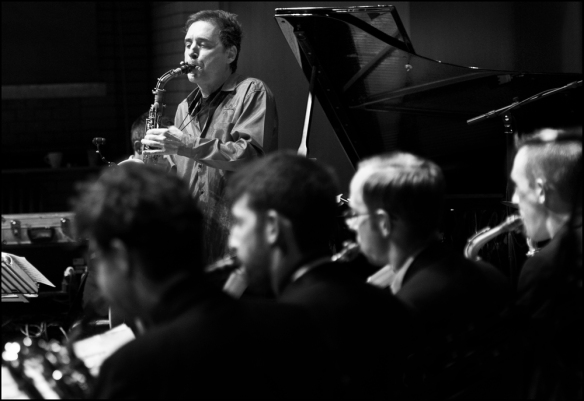 Andrew D'Angelo with the Mike Fletcher Big Band last night at the CBSO Centre. © Garry Corbett