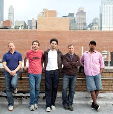 The band pose for the traditional rooftop shot at Avatar Studios in New York - Craig Taborn, Larry Grenadier, David Virelles, Chris Potter and Eric Harland.