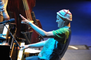 He plays the piano, he conducts, he dances - Django Bates last night (Picture © BBC/Chris Christodoulou)