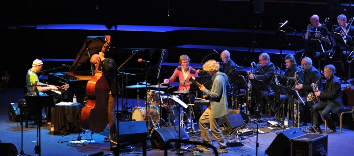 Bates and the band last night. (Picture © BBC/Chris Christodoulou)
