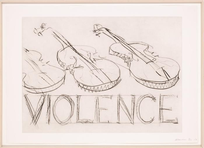 Bruce Nauman (*1941) Violins / Violence, 1985Kaltnadelradierung 71 x 99,4 cm, ACT Art Collection, © VG Bild-Kunst, Bonn 2015