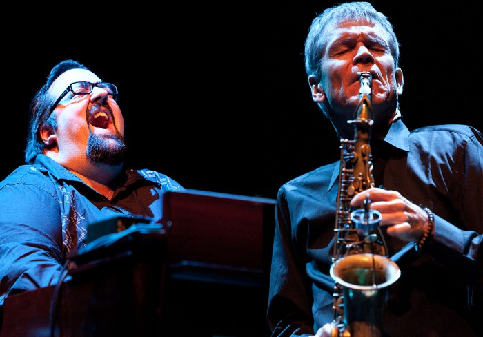 Organist Joey DeFrancesco and jazz-soul legend David Sanborn at the Queen Elizabeth Hall in London – one of the images in the Jazz Camera exhibition in Birmingham. (Photo ©  John Watson/jazzcamera.co.uk)