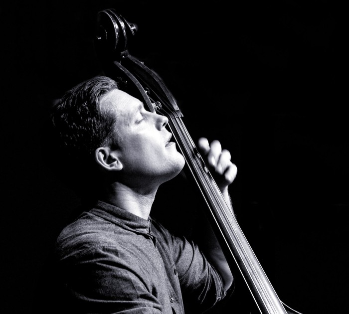 Michael Janisch solos with his band Paradigm Shift at Birmingham Conservatoire. (Photo © John Watson/jazzcamera.co.uk)