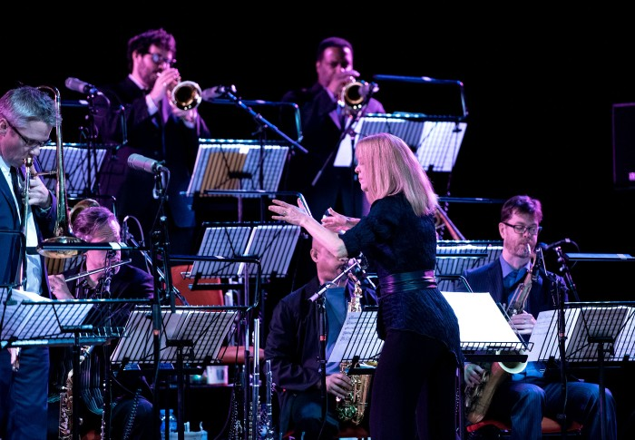 Maria Schneider conducting her Jazz Orchestra in Symphony Hall last night (Photo © John Watson/jazzcamera.co.uk)