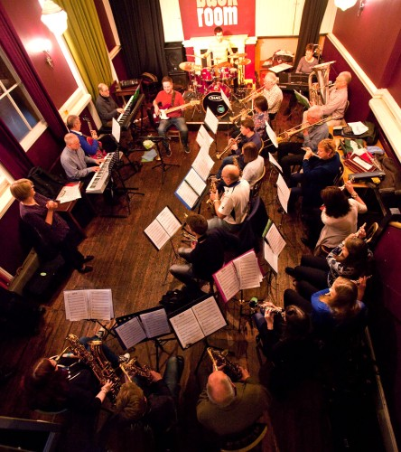 Nick leading his Blast Off community band from the bass in The Back Room at the George IV, Lichfield (Photo © John Watson/jazzcamera.co.uk)