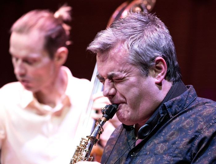 Spit and polish - Mark Lockheart with Jasper Hoiby on Friday night at the CBSO Centre (Photo © John Watson/jazzcamera.co.uk - for more of John's fine photos click on this one)