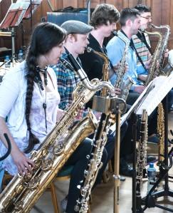 The BJO saxophones: Alicia Gardener-Trejo, Chris Young, Elliot Drew, Jon Fleming and Vittorio Mura (Photo © John Watson/jazzcamera.co.uk)