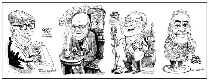 George West, Steve Evans, Tony Dudley-Evans and Phil Rose, captured in caricature form by Hunt Emerson.