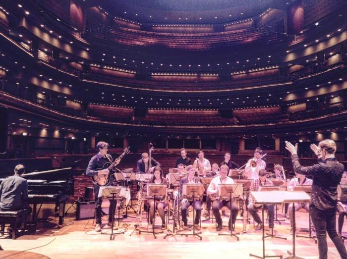 Birmingham Jazz Orchestra, conducted by Jacky Naylor, on the Symphony Hall Stage last night (I stole this pic from Jacky's Facebook Timeline - I hope he doesn't mind)